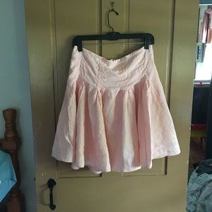 Linen Peach Fully Lined pleated Skirt.  No flaws